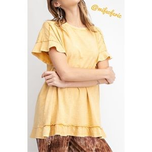 Mineral Washed Ruffle Layered Tunic Butter NWT